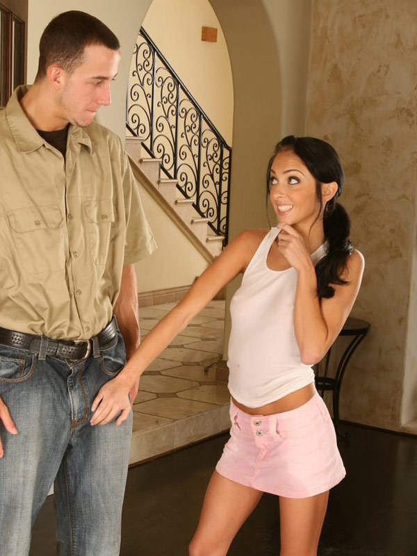 Stephanie Cane grabs repair mans cock, just to check if it's really big