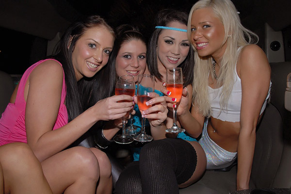 Stephanie Cane posing with her party girlfriends
