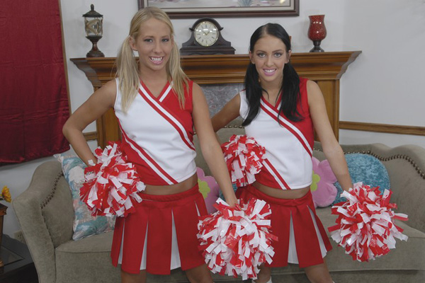 Cheerleaders Stephanie Cane and Ashley posing for the camera